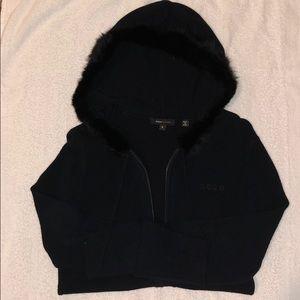 Bcbg sweater with fur hood